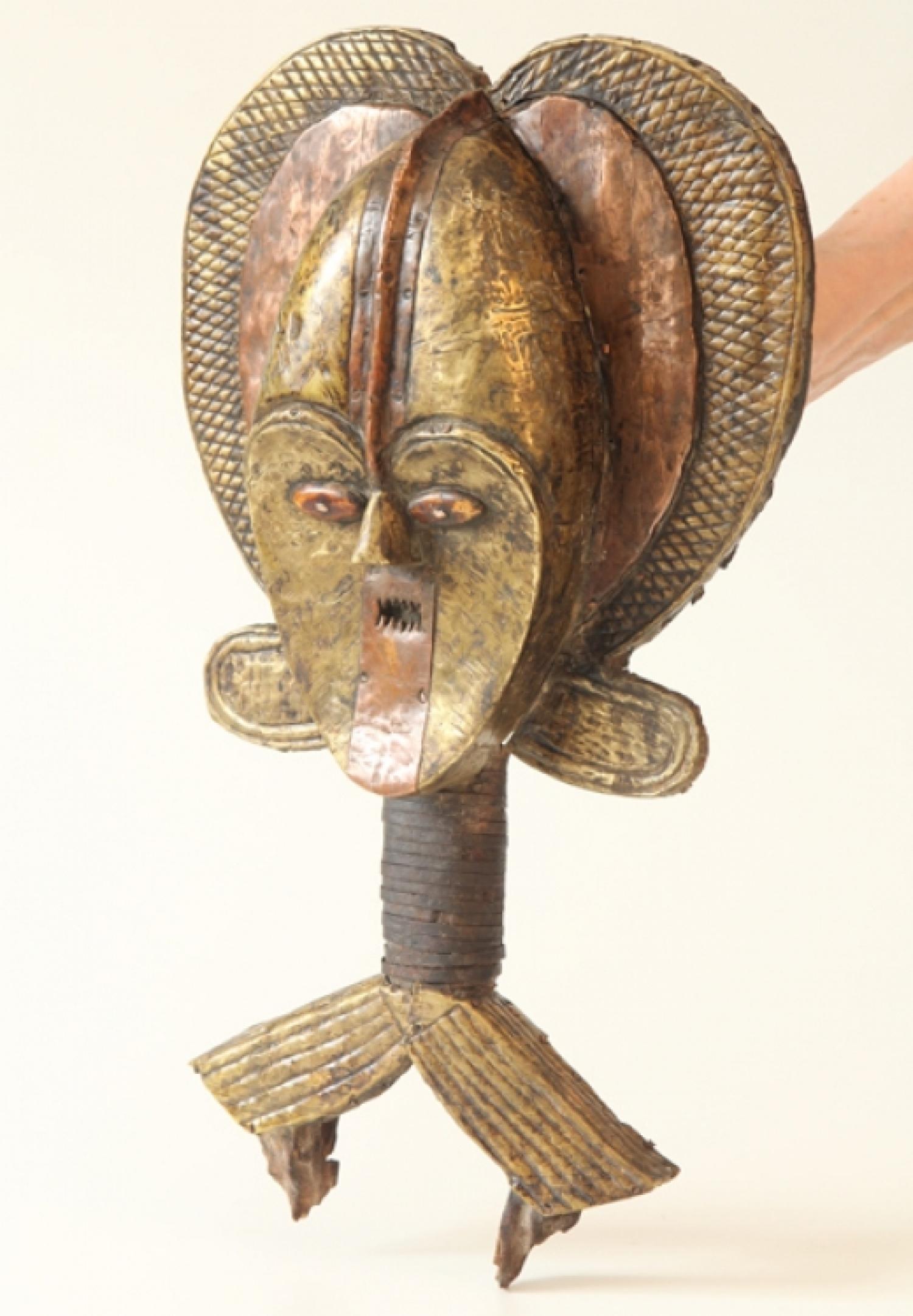 reliquary guardian figure Female reliquary guardian figure, ca 1850, cameroon or gabon, west africa, pm 30-2-50/b4973.